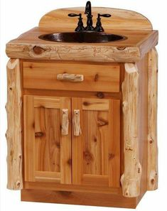 I like the log around the top but not on the corners! Cedar Log Bathroom Vanity from The Log Furniture Store Log Bedroom Furniture, Cedar Furniture, Log Cabin Furniture, Rustic Furniture, Furniture Plans, Log Home Bathrooms, Rustic Bathrooms, Log Decor, Log Homes