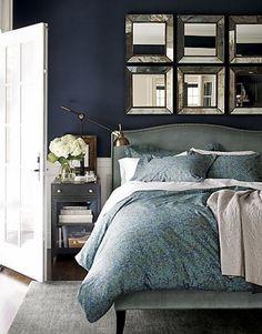 Colette Velvet Queen Bed in New Furniture Navy Bedrooms, Blue Bedroom, Bedroom Wall, Bedroom Decor, Bed Wall, Bedroom Ideas, Wall Decor, Master Bedrooms, Large Bedroom