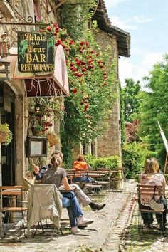 Cafe in Perouges, France