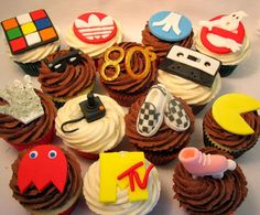80s cupcakes #cupcakes   I might keep this idea in mind if and when I have a 80's party!
