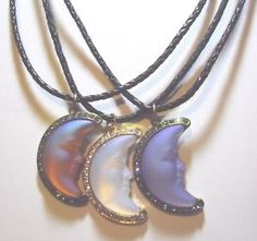 Kirks Folly Crescent Seaview Moon Shadow Necklace; Harvest, Blue or White