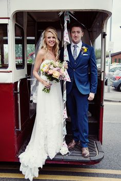 Bride and groom from a Colourful, Vintage Travel Theme Celebration | Photography by http://www.libbychristensen.co.uk/