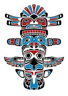 "Képtalálat a következőre: ""british columbia totem ink"" Native American Totem, Native American Symbols, Native American Design, American Indian Art, Native American Indians, Haida Tattoo, Inuit Kunst, Inuit Art, Arte Haida"