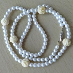Vintage Pearl & Hand-Carved Bead Necklace