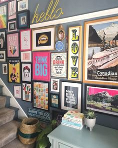 Gallery Wall Staircase, Staircase Wall Decor, Stair Walls, Picture Wall Staircase, Decorating Stairway Walls, Stairs, Gallery Wall Layout, Modern Gallery Wall, Modern Wall