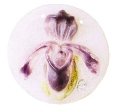 """Amalric Walter pendant, pate-de-verre with iris design in purple and yellow on a clear ground, incised initials, 2""""dia.