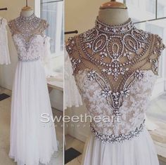 Bg877 White Chiffon Prom Dress,Fashion Prom Dresses,Beading Crystal