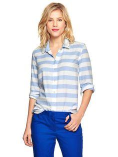Pin for Later: Kate Middleton ging bei Gap einkaufen — Und das hätte sie ebenfalls kaufen sollen Gap Thick Blue-and-White Stripe Oxford Hemd