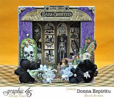 Altered Rare Oddities shadowbox by Donna! Halloween perfection; Oct 2015  #graphic45 #rareoddities #halloween