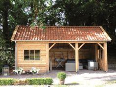 Kapschuur with storage, - All For Garden Backyard Studio, Backyard Gazebo, Pergola Patio, Backyard Landscaping, Pergola Kits, Backyard Storage Sheds, Backyard Sheds, Outdoor Sheds, Outdoor Gardens