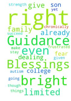 Guidance and Blessings -   	Dear Lord,    	I ask you for guidance in dealing with our son who has Asperger's Autism. He is so bright and yet he is going to fall through the cracks because of his inability to stay focused. I am so frustrated. Please help him get approved for ssi so we can get him more help because we are already limited with our daughter who is chronically ill. He just graduated and I fear he wouldn't even succeed in college even though he is so extremely bright. Please get…