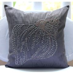 Charcoal Grey Pillow Cases 16x16 Silk Pillows by TheHomeCentric
