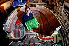 "The American professor, Paul Jansen, spent more than hours of labour and LEGO® blocks to create a replica of the stadium of his favourite Ohio football team ""Buckeyes"". The stadium has been opened in 1922 and it has more than seats for fans. Ohio State Football, Ohio State Buckeyes, Ohio State Stadium, Buckeyes Football, Football Stadiums, Ohio State University, College Football, Football Field, Funny Football"