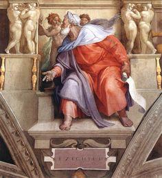 Michelangelo's depiction of Ezekiel, a prophet in Judeo-Christian mythology.