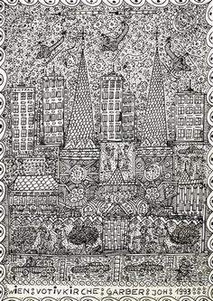 Johann Garber - Wien : Wotivkirche, 1993, Ink on paper