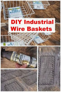 DIY Dollar store wire baskets to look like the more expensive industrial wire baskets easily