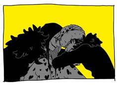 Don't cry - Trafalgar D. Water Law and Donquixote Rocinante  (Corazon), (Corasan, Cora-san) One piece art yellow