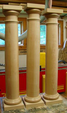 Cherry Columns made custom for different height requirements.