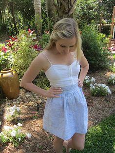 Devon Alana : Seersucker Skirt with Zipper