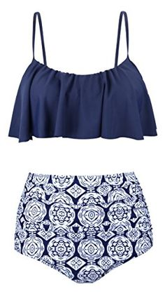 Buy Womens High Waisted Swimsuits Flounce Top Bathing Suits Swimwear - Navy - and Find More From Our Large Selection of Women's Bikini Swimsuits With Big Discount. Bikini Sets, Bikini Modells, Flounce Bikini, Sexy Bikini, Tankini, Bikini Beach, Bikini Bottoms, Summer Bathing Suits, Swimwear