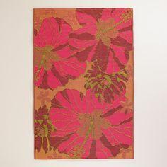 4'x6' Red and Orange Hibiscus Rio Indoor-Outdoor Floor Mat | World Market