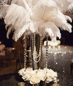 Centerpiece for a Great Gatsby Party.