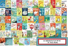 65 Books By Seuss: An Alphabetical List Links to lots of Dr. Books For Boys, I Love Books, Childrens Books, Dr Seuss Book Collection, Dr Seuss Books List, Dr Seuss Activities, Sequencing Activities, Theodor Seuss Geisel, Baby Shower Food For Girl