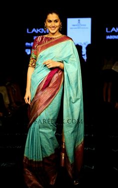 Actress Tapsee (tapsi pannu) ramp walk stills in Gaurang shah saree at LFW (Lakme Fashion Week) winter/festive She was traditional in mint blue silk South Indian Silk Saree, Blue Silk Saree, Indian Bridal Lehenga, Indian Sarees, Cotton Saree, Lakme Fashion Week, India Fashion, Women's Fashion, Ethinic Wear