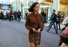 Leigh Lezark in an Anthony Vaccarello top and skirt
