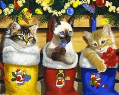 christmas kitties Linda Picken