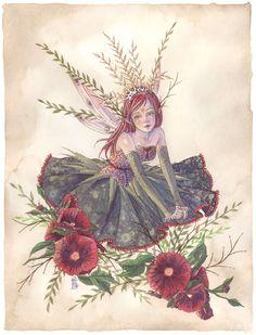 Hollyhock Princess Fairy Original Watercolor by sarambutcher aka: Sara M. Fantasy Creatures, Mythical Creatures, Fairy Original, Kobold, Elves And Fairies, Fairy Pictures, Vintage Fairies, Beautiful Fairies, Fairytale Art