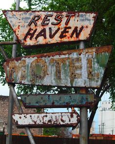 Route 66 Rest Haven Motel Sign, Oklahoma/Just down the road, I'll buy lunch
