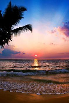 Sunset on a tropical beach...