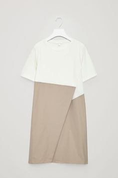 COS image 2 of Short-sleeve Dress with Pleat Underlap in Ivory