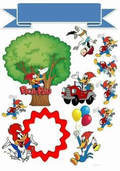 topo de bolo Woody Woodpecker, Cartoon Drawings, Art Drawings, Baby Cards, Doll Accessories, Cupcake Toppers, Free Printables, Birthday Parties, Projects To Try