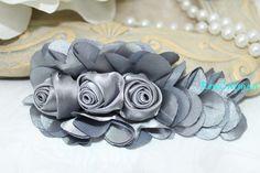 Satin Rose Rosettes Applique  grey satin Satin by rosecarmen