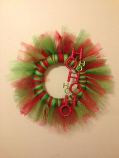 """Christmas Tulle Wreath """"12 Red and Green. Check it out on Facebook at Blue Bear Embroidery!"""