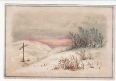 Wood Stick Cross on Snowy Hilltop Religious Victorian Card C 1880s | eBay