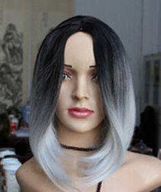 envío libre brasileño malasio> mujeres Inspired corto Tono peluca Ombre Color Negro Gris claro mezclar Pelucas fibra rectas