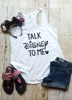 """Thank you for stopping by my shop! I am excited to have you here! Disney Addicts this top is for you!! My """"Talk Disney to me"""" is perfect for your Disney vacation! ***This listing is for the tank top o"""