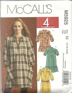 McCall's 5925 Misses' dresses in two lengths, very loose fitting, pullover dress with optional ruffled hems and puff sleeves (3 versions). For lightweight fabrics such as cotton blends, challis, crepe de chine, jersey. Sizes 14-20. About 3.25 yds for 20 with long sleeves. Bought in McCall's out-of-print sale for $ 1.99. 2009.