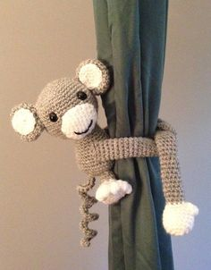 These adorable crochet stuffed monkey curtain tie backs are perfect for any nursery or playroom! They would also make cute gifts for holidays, birthdays, baby showers, or just because! They are made with 100% acrylic yarn, polyester fiberfill stuffing and safety eyes. They measure 7