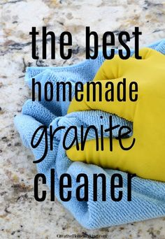 Granite Cleaner The best homemade granite cleaner for kitchen and bathroom countertops. One of my favorite DIY cleaning hacks!The best homemade granite cleaner for kitchen and bathroom countertops. One of my favorite DIY cleaning hacks! Deep Cleaning Tips, House Cleaning Tips, Diy Cleaning Products, Cleaning Solutions, Spring Cleaning, Cleaning Hacks, Kitchen Cleaning, Cleaning Recipes, Diy Hacks