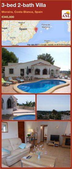 3-bed 2-bath Villa in Moraira, Costa Blanca, Spain ►€345,000 #PropertyForSaleInSpain