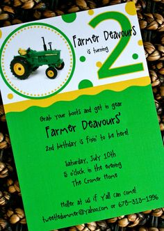 John Deere Tractor Party Invitation...love the simplicity.