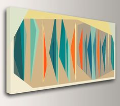 Colorful piece of mid century modern art delivered right to your door! This handmade, museum quality canvas print arrives ready to hang in your favorite spot. Available in two colors, seven sizes or custom! INFO - Title: Multiplex Panorama - Sturdy 1.5 Stretcher Bars - Museum Quality