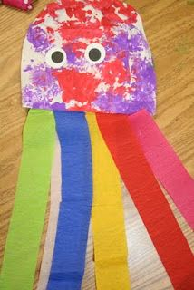 These can be done cute with only construction paper and markers. The tentacles can be folded paper strips