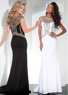 Sparkling Tulle & Chiffon Jewel Neckline Sheath Evening Dresses With Beads