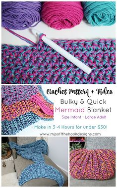 Ravelry: Bulky & Quick Mermaid Blanket pattern by MJ's Off The Hook Designs Crochet Mermaid Tail Pattern, Mermaid Blanket Pattern, Crochet Mermaid Blanket, Crochet Blanket Patterns, Crochet Stitches, Quick Crochet Blanket, Quick Crochet Patterns, Beginner Crochet Tutorial, Crochet Blankets