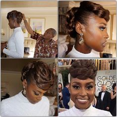 Issa Rae's of The Misadventures of Awkward Black Girl, and HBO hilarious series Insecure at the Golden Globes. Celebrity stylist, Felicia Leatherwood, used Wonder Curl's Butter than Love Whipped to smooth down her hair. Natural Hair Updo, Natural Hair Care, Natural Hair Styles, Natural Beauty, Black Girls Hairstyles, Braided Hairstyles, Hairstyles Haircuts, Issa Rae, African American Hairstyles